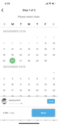 Calendar to book Product