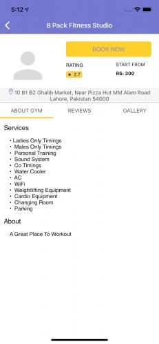 Gym Profile Screen