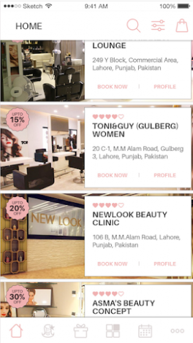 Home Screen with Salons offering Discounts